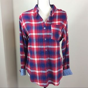 Thread & Supply Red And Blue Plaid Flannel Sz M